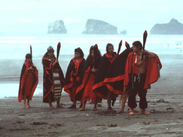 Dancers on beach