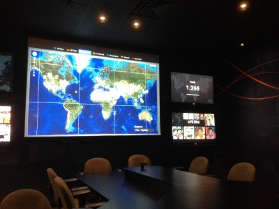 """In """"Mission Control"""" center of FCBH. They track in real time the number of downloads and streaming audio happening in different languages around the world. I got goosebumps """"listening in"""" on groups in the Middle East gathered together to listen to Jesus' teachings. Amazing."""